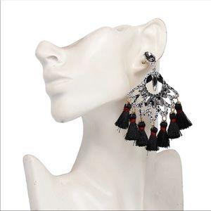 NWT Drop Charm Tassel Big Handmade Earrings